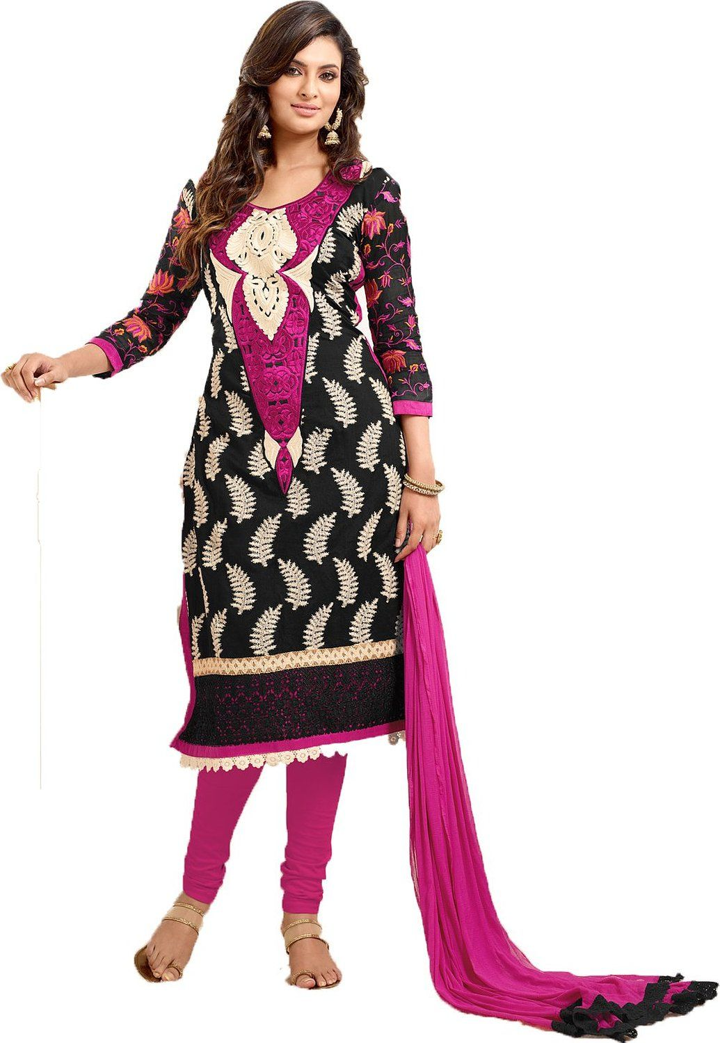 Chanderi By Black Material Drees Clothing Amazon White Chakudee in fptnvWqp