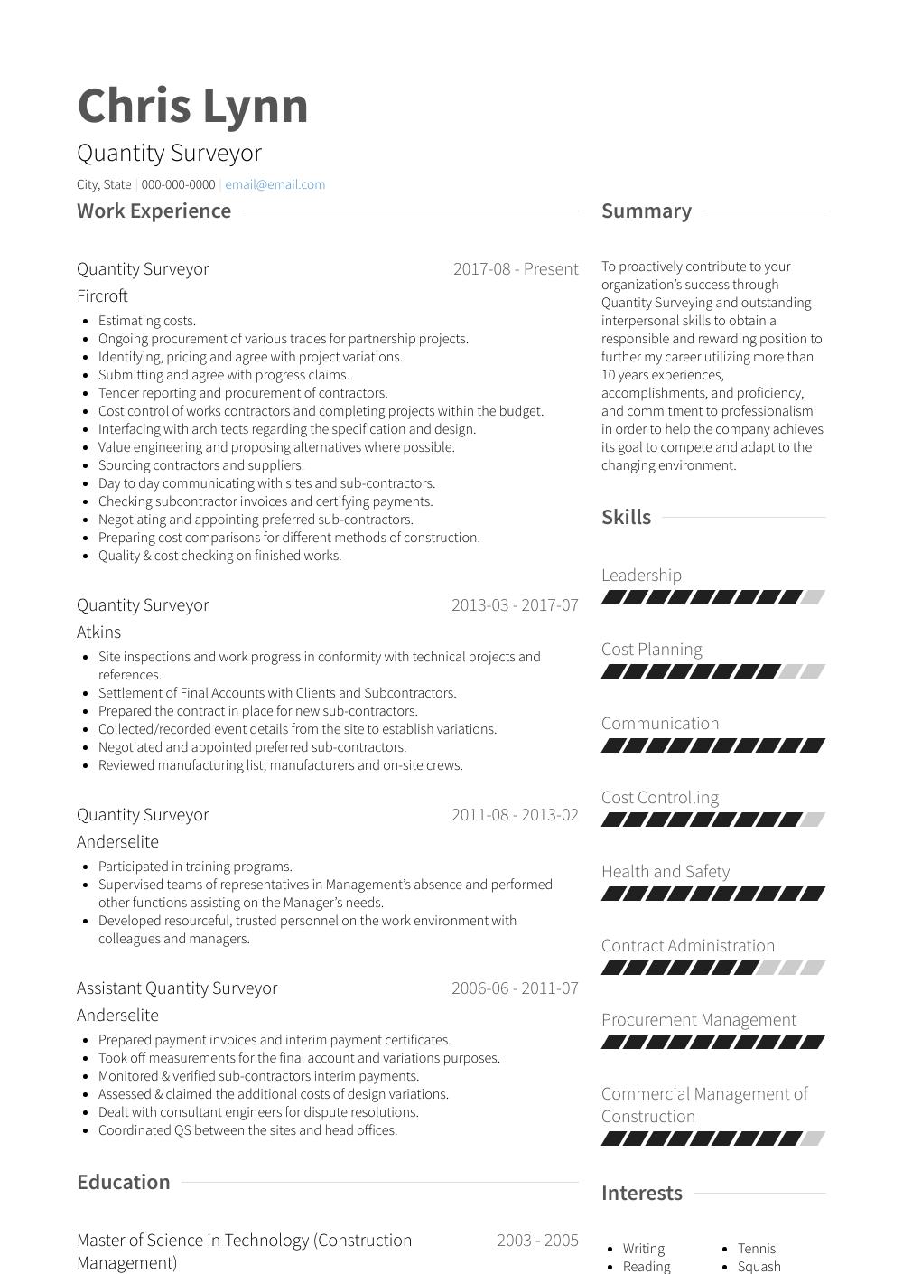 Quantity Surveyor Resume Samples Templates Visualcv Job Resume Samples Job Resume Format Downloadable Resume Template