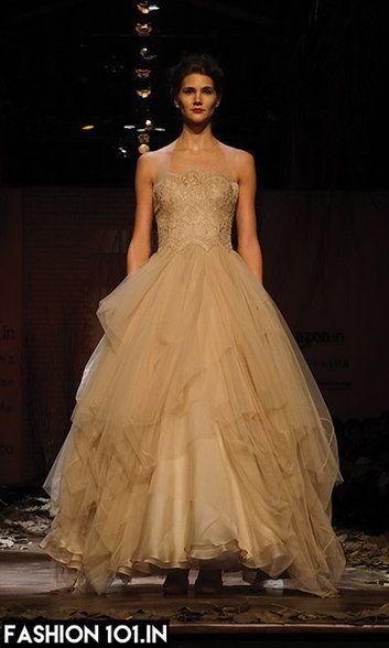 Gold Shantanu Nikhi Layered Gown