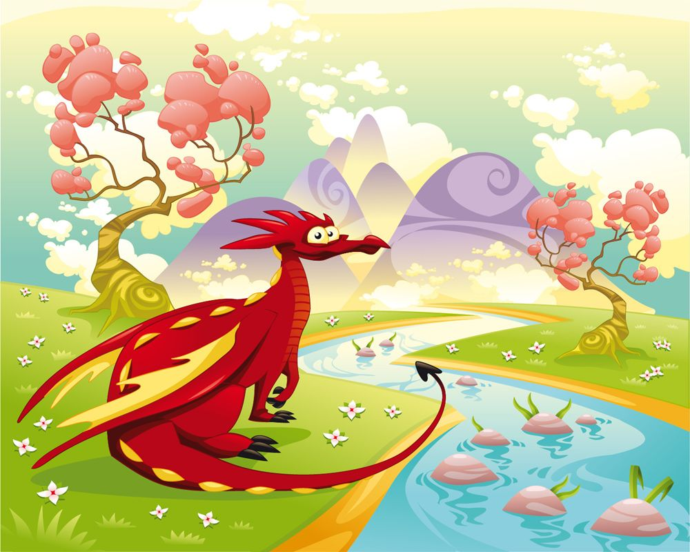 Liven up your wall with this \'Dragon By A Stream With Mountains ...