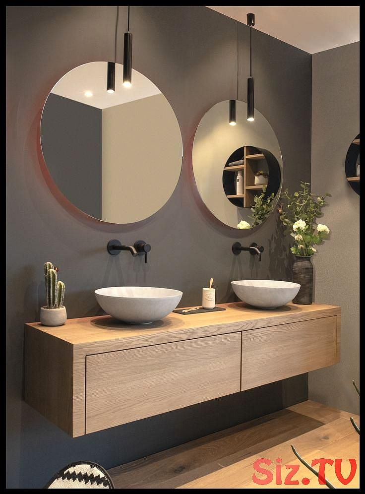 Modern Bathroom With Floating Vanity And Twin Sinks In 2020 Mit