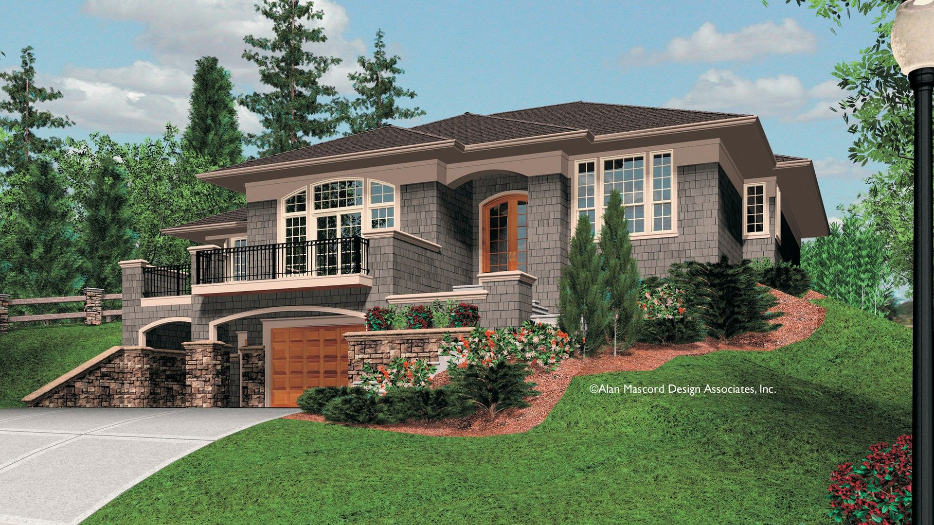 Basement Garage With Balcony Above Sloping Lot House Plan Basement House Plans Mediterranean House Plans