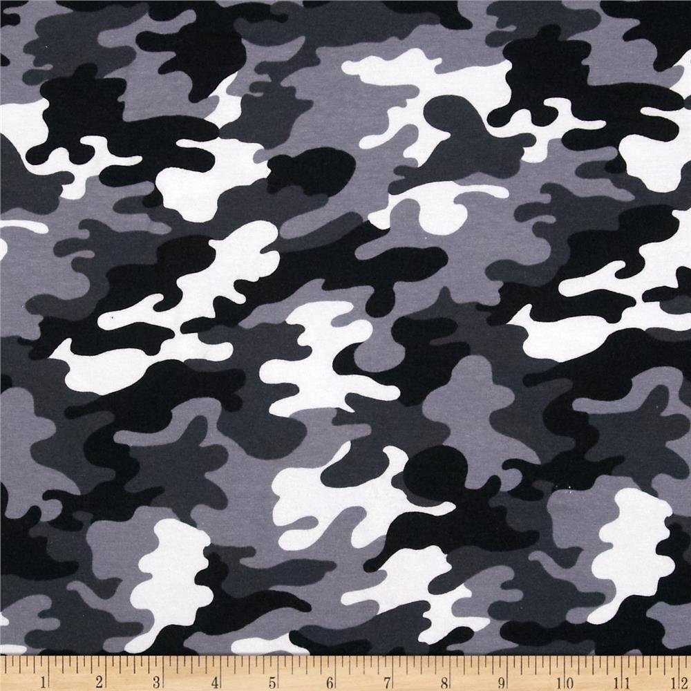 db372c17b2a Kaufman Laguna Stretch Jersey Knit Camouflage Black | 95% Cotton + 5% Lycra