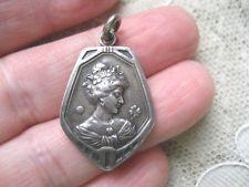 Antique Victorian Art Nouveau 800 Silver Portrait Charm ca 1890 - 1910 Germany