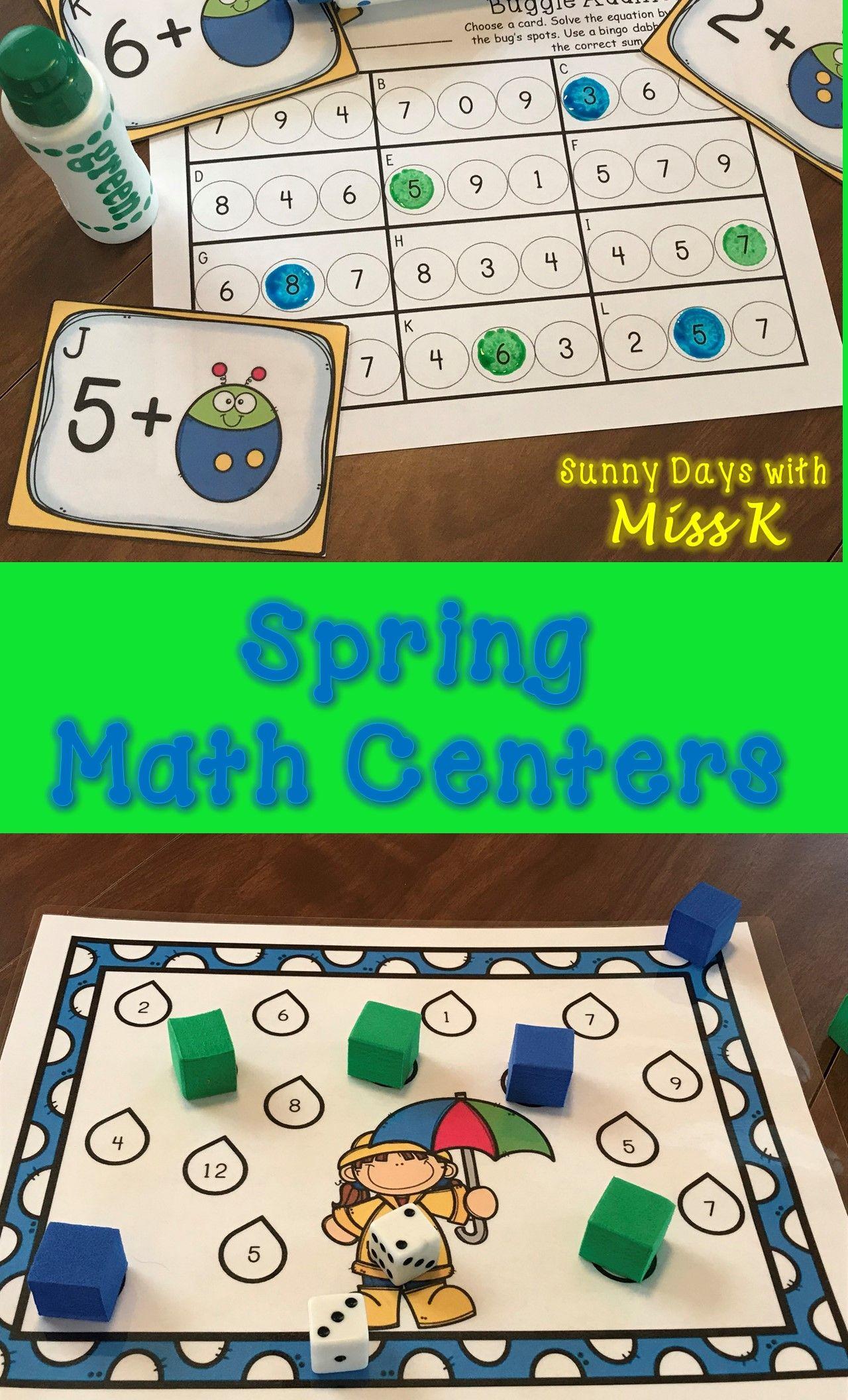 Kindergarten Spring Math Centers