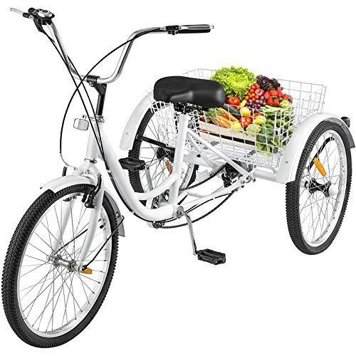 Happybuy 26inch Adult Tricycle 7 Speed Single Speed 3 Wheel Bike