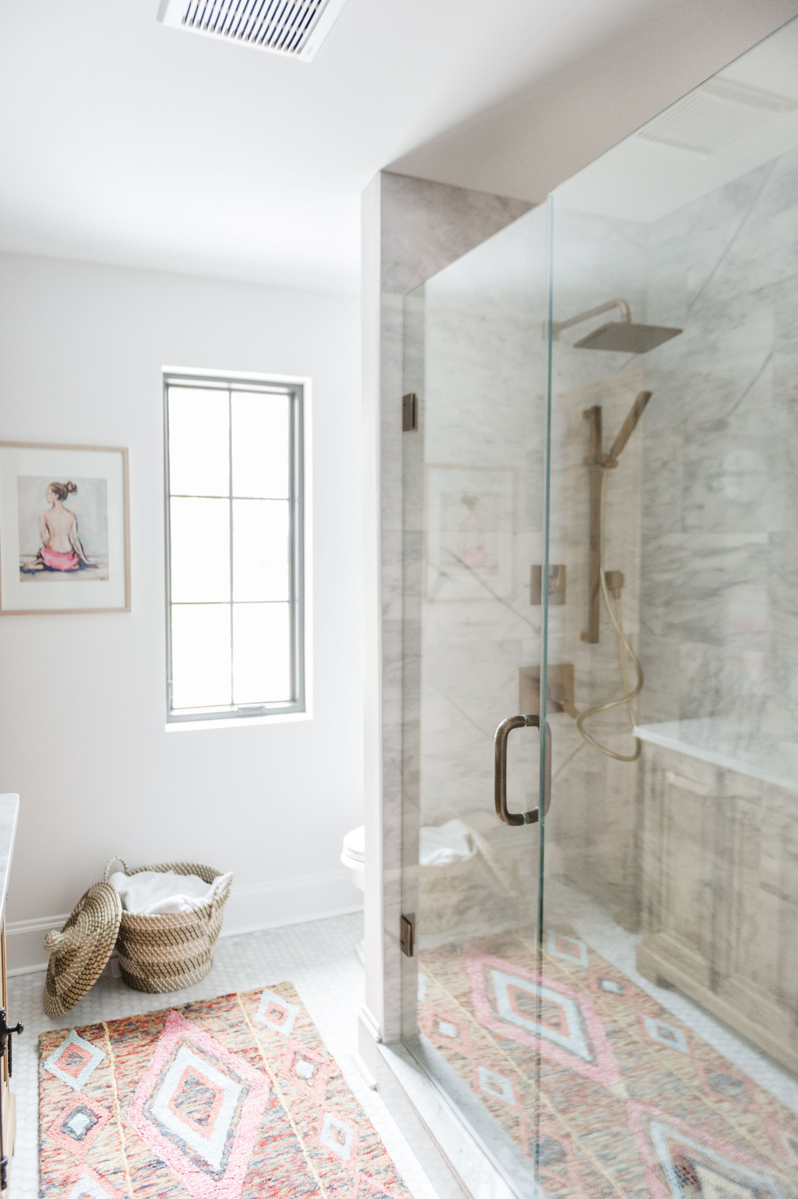 Im Beyond Excited To Share This Modern Boho Bathroom Renovation Reveal With You Guys The Space Has Faucets Cabinetry And Lighting