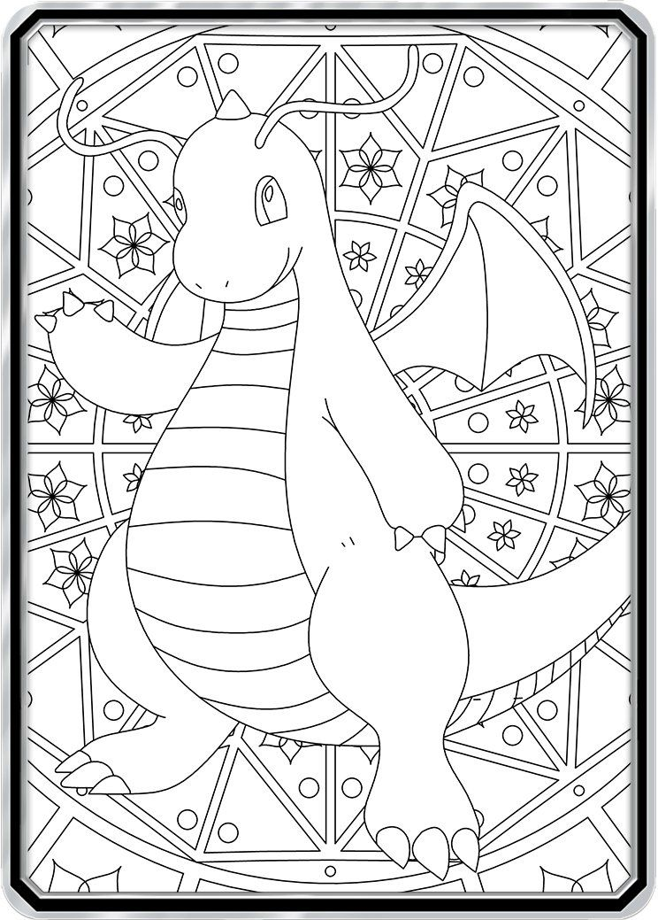 Color Me Dragonite Custom Pokemon Coloring Card Pokemon Coloring Sheets Pokemon Coloring Color Card