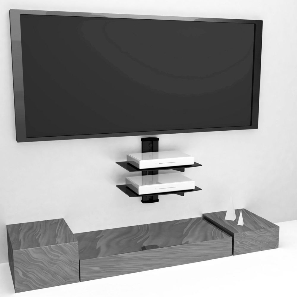 Floating 2 Shelf Accessory Shelves Wall Mounted Dvd Tv Cable