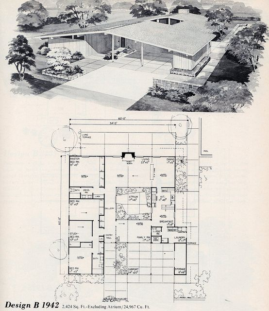 Untitled Modern Floor Plans Vintage House Plans Mid Century Modern House Plans