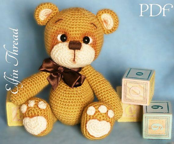 Amigurumi Crochet Patterns Teddy Bears : Elfin thread teddy bear amigurumi pdf pattern bear crochet pdf