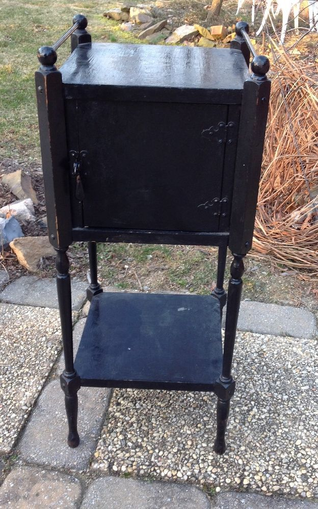 Antique smoking stand table wood humidor for sale