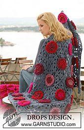 "Ravelry: 124-5 Crochet blanket with flowers in ""Eskimo"" pattern by DROPS design"