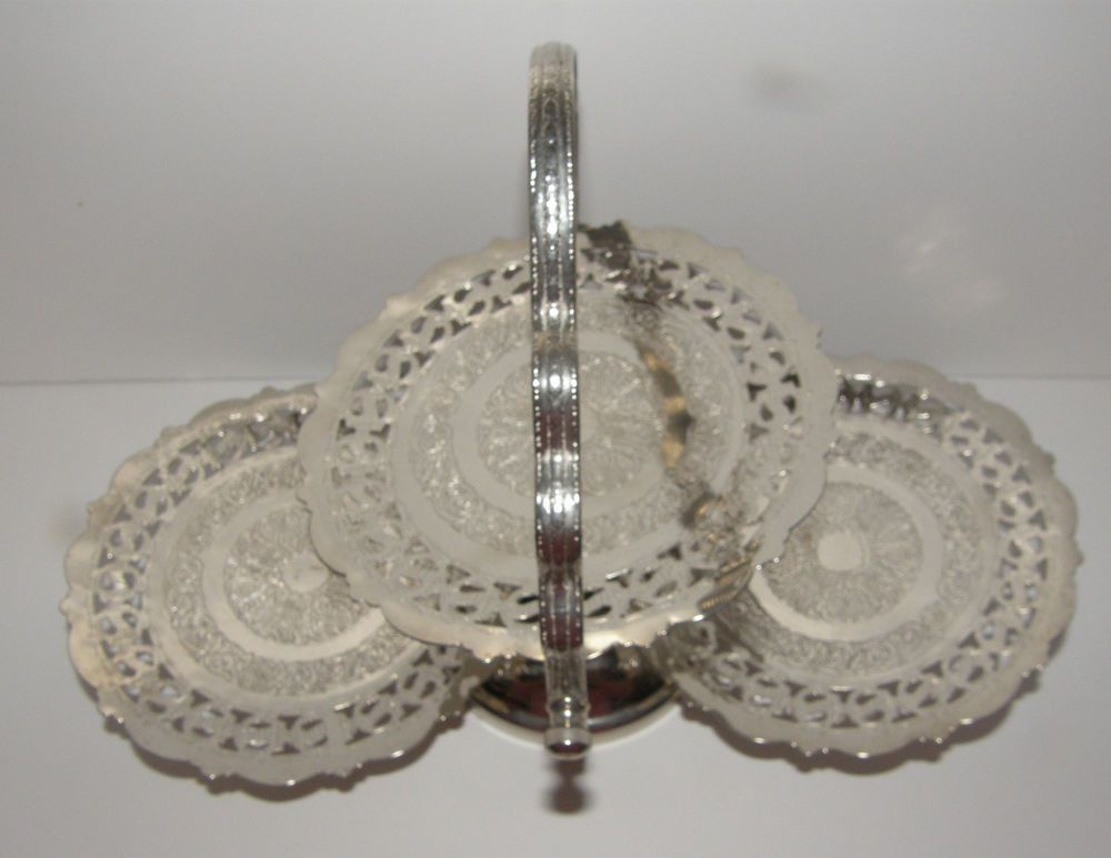 English Silverplate 3 Tier Pierced Engraved Tray Tidbit Folding Holiday Server    EBay