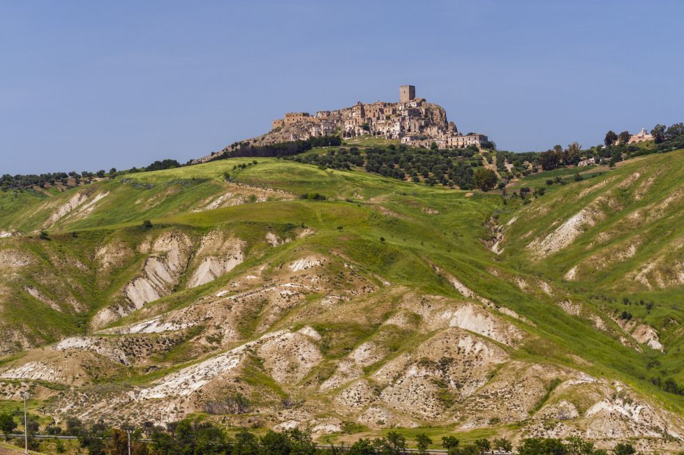 Ghost  towns: Craco, Italy. Nobody lives there since a earthquake destroys the town.