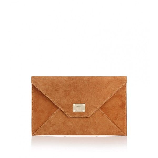 Jimmy Choo Rosetta tan suede clutch (€525) ❤ liked on Polyvore featuring bags, handbags, clutches, brown, tan purse, tan handbags, brown handbags, jimmy choo purses and white handbags