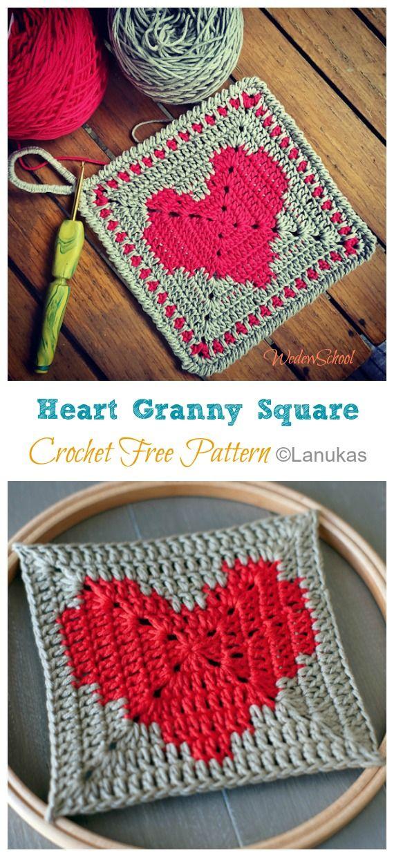 Heart Granny Square Crochet Free Patterns