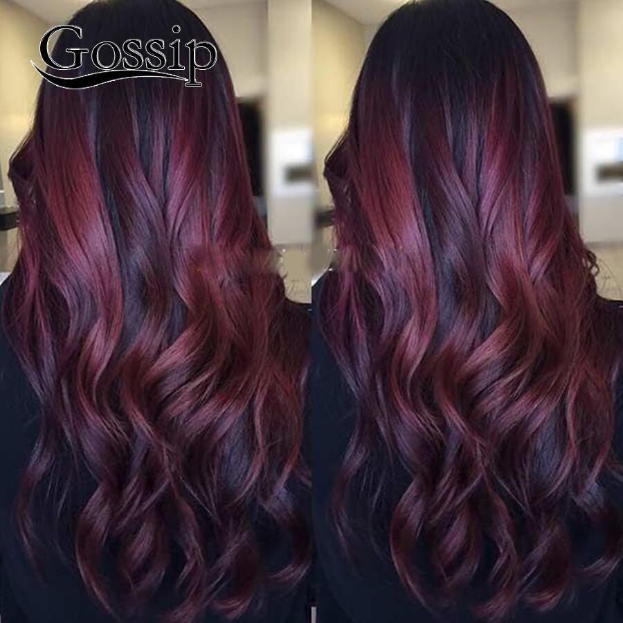 Ombre Brazilian Hair Weave Bundles Burgundy Brazilian Body Wave 4