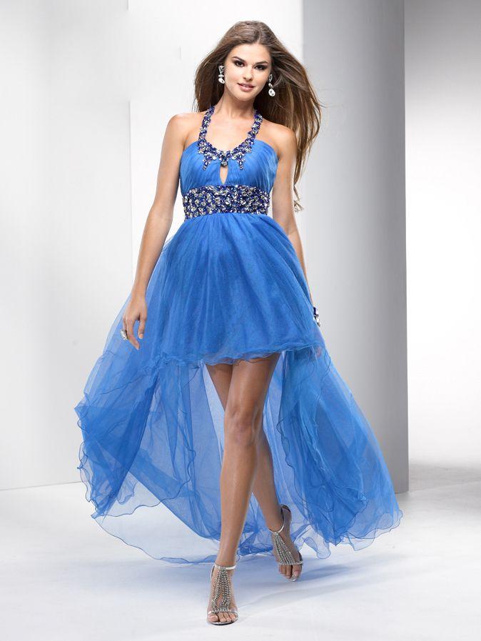 Blue High Low Dress W Jeweled Collar Belt Prom Dresses