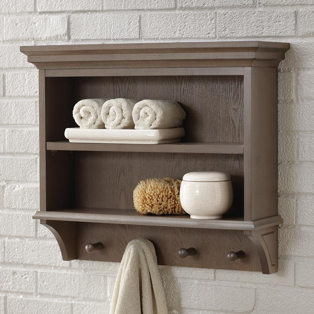 Home Decorators Collection Albright 24 In W X 21 In H X 7 In D Wall Mount 2 Tier Bathroom Shelf With Wooden Towel Pegs In Winter Gray 19foswc22 The Home De Wall Wall mounted bathroom shelves