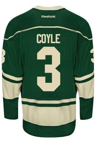 Minnesota Wild Charlie COYLE  3 Official Third Reebok Premier Replica NHL  Hockey Jersey (HAND SEWN CUSTOMIZATION) b27b22c4f