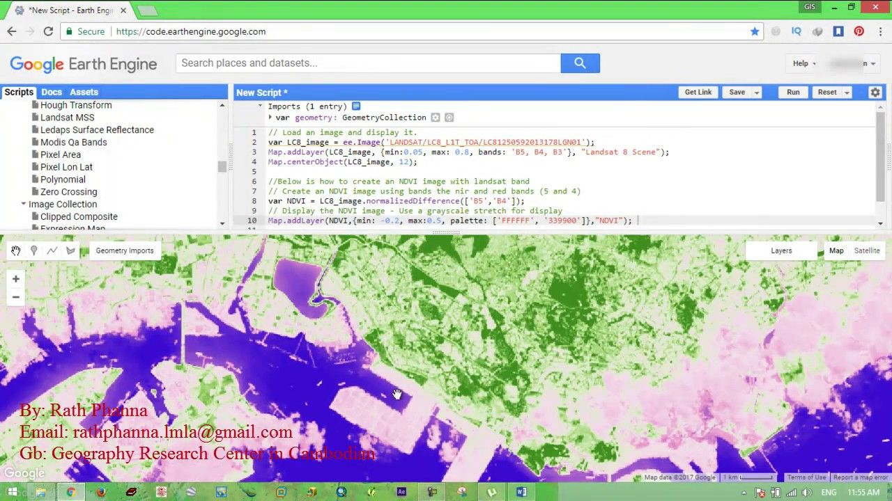 Calculate band ndvi in google earth engine geospatial gis calculate band ndvi in google earth engine sciox Images
