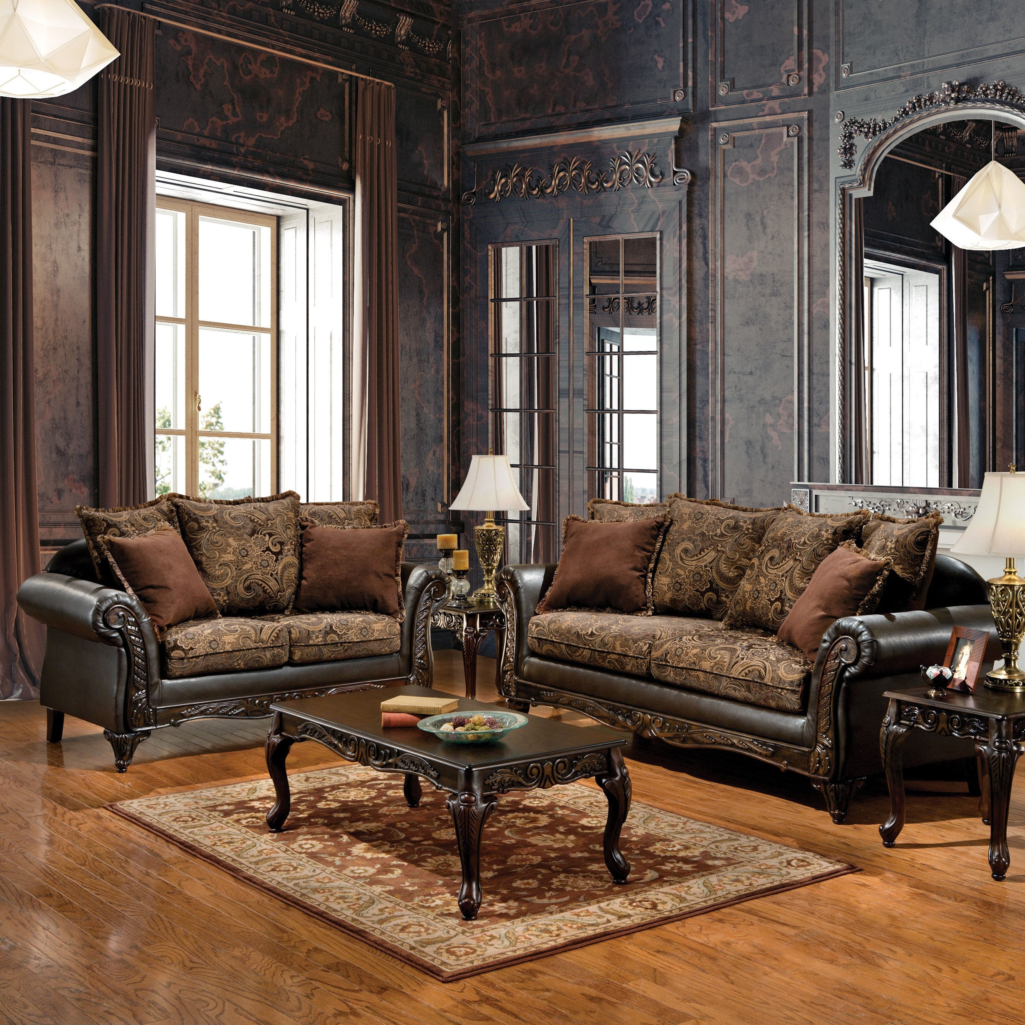 Tremendous Ruthy Traditional Dark Brown Floral Sofa Loveseat Set By Foa Gmtry Best Dining Table And Chair Ideas Images Gmtryco
