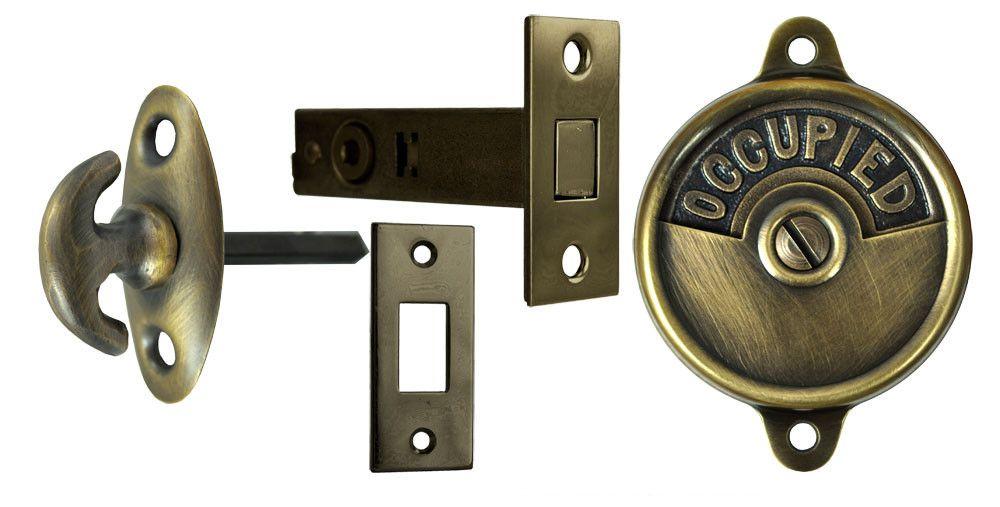 Occupied Open Bathroom Privacy Latch With Crescent Turnlatch Zlw 43c Open Bathroom Vintage Hardware Bathroom Door Locks