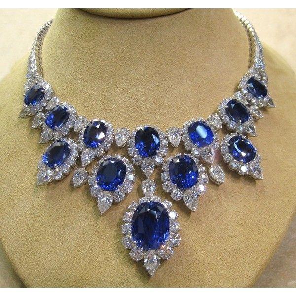 Harry Winston Diamond And Sapphire Necklace Gems
