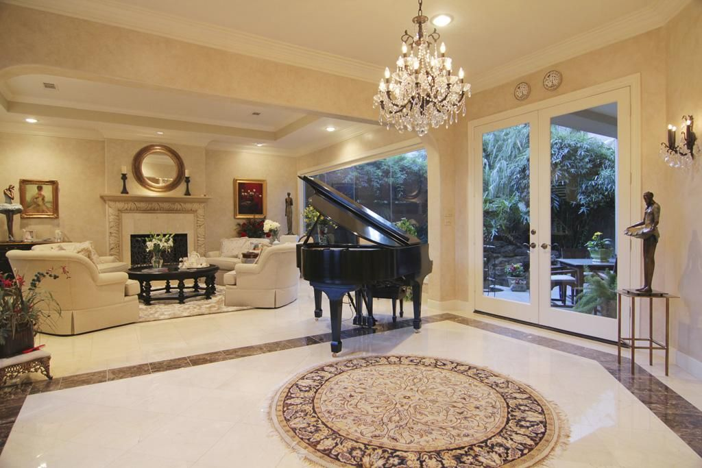 Luxury living room with a fireplace and a marble floor marble floor bathroom interior  ...