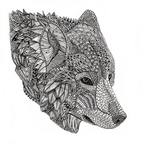 Pin By Melissa On Illustration And Imagination Wolf Art Print Zentangle Animals Wolf Colors