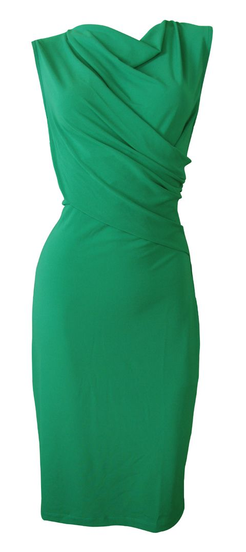 Emerald-Green-Stretch-Twist-Front-Shift-Dress