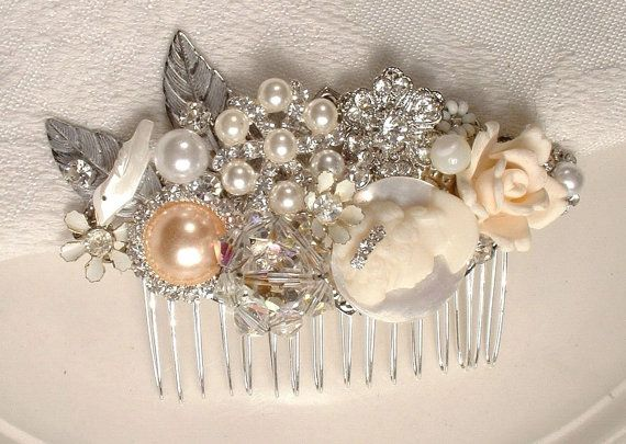 Hair pin  OoAK Vintage Shades of Ivory Pearl Clear by AmoreTreasure, $103.98