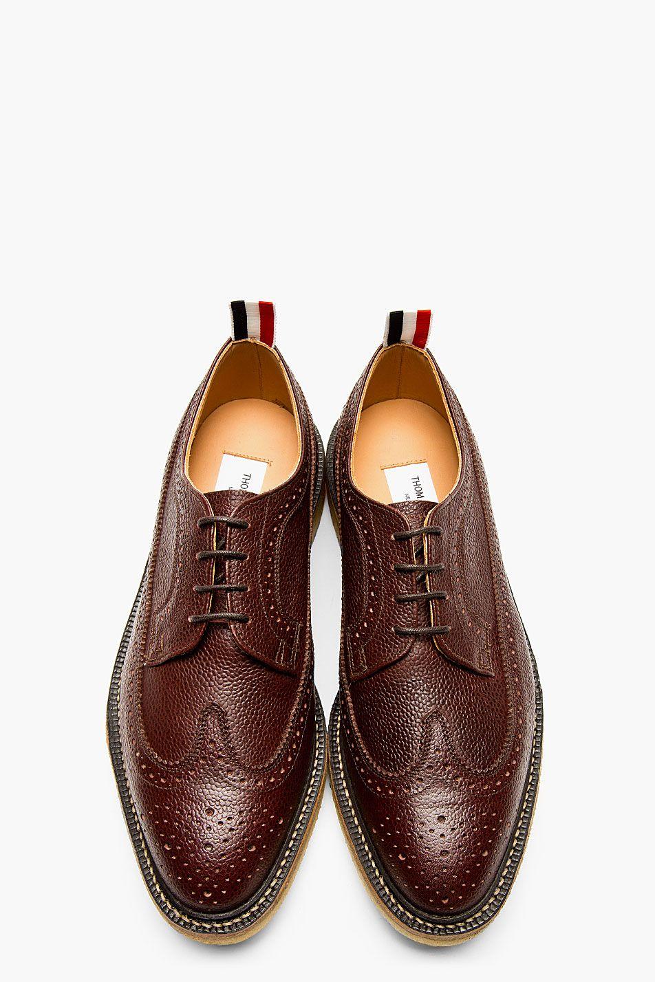 eaba2c4a9ee THOM BROWNE Maroon Leather Longwing Brogues. THOM BROWNE Maroon Leather  Longwing Brogues Gentleman Shoes