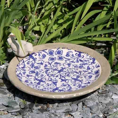 Birds bath enamelled terracotta white and blue old patina