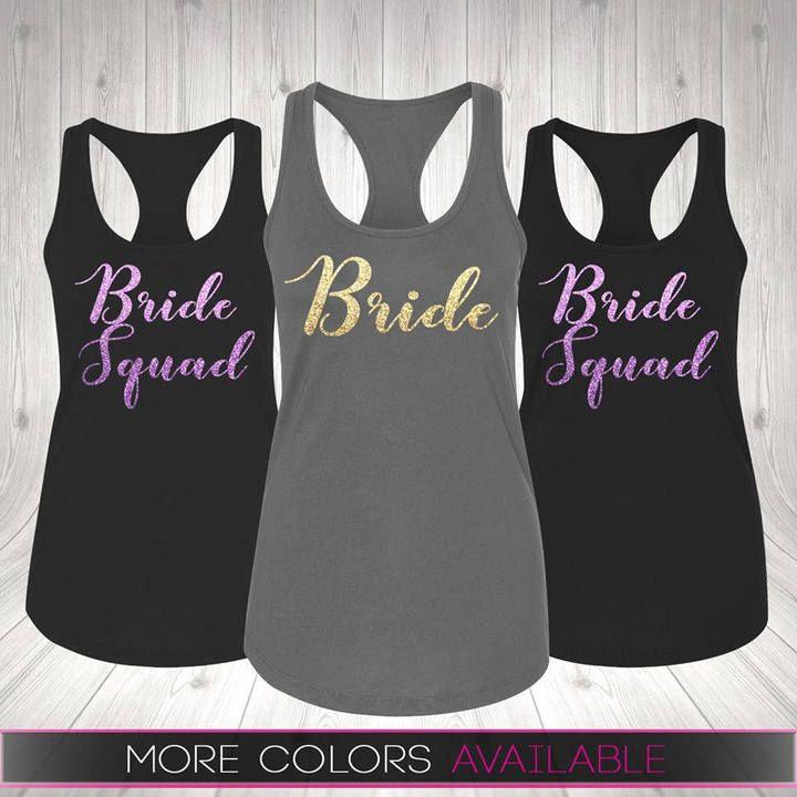 Bride Tank Shirt top Bridesmaids Brides Entourage Bachelorette white Pink /& more