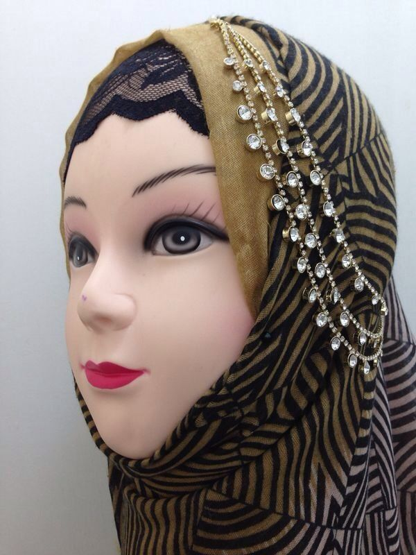 Gold Green Dark Head Hair Piece Indian Costume Jewellery Matha Patti Scarf Hijab Hair & Head Jewelry