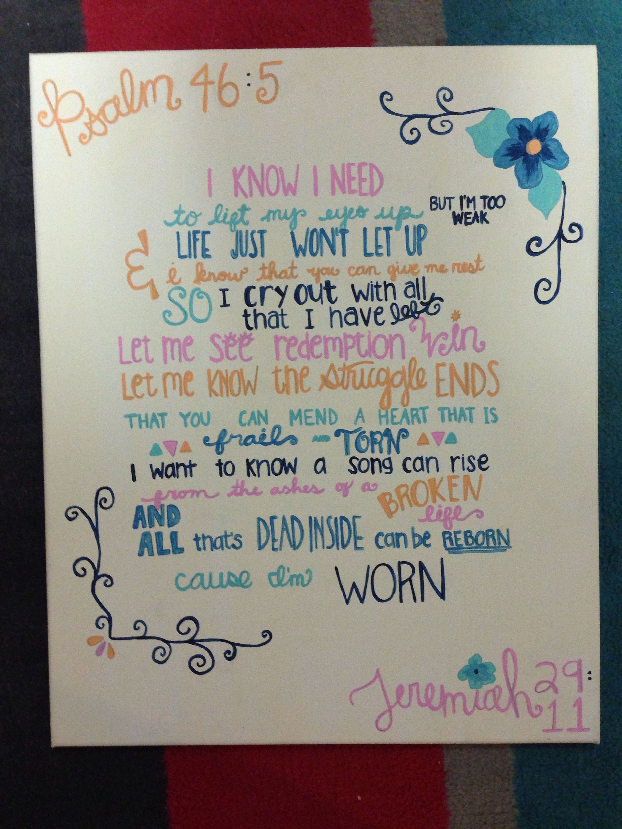 Cute Canvas Tenth Avenue Lyrics With Bible References And Pretty