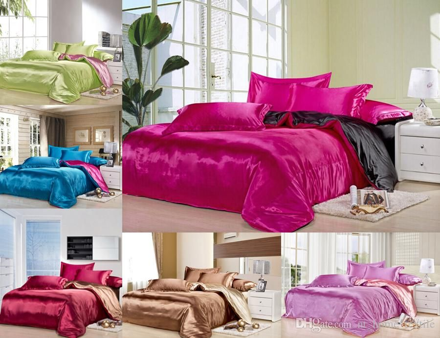 Custom Size Solid Color Bedding Set Deep Pink Black Two Colors Flat Fell  Seam 20%