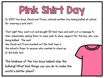 Free Activities For Pink Shirt Day Pink Shirt Bullying Activities Pink