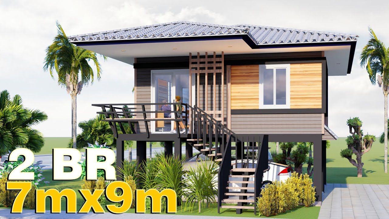 Elevated Small House Design 7x9 56 Sqm Full Plan Small House Design Small House House On Stilts