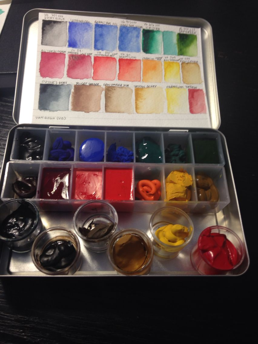 Watercolour pallet using magnets and pillbox
