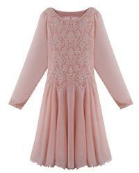 Elegant Scoop Neck Long Sleeve Lace Splicing Chiffon Dress For Women