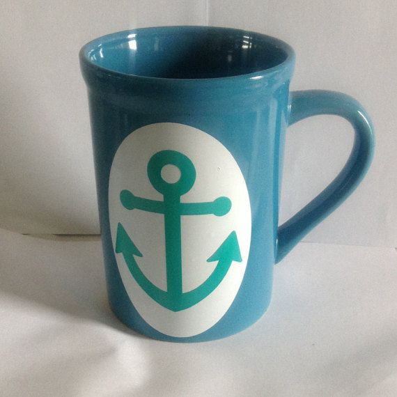 Nautical Coffee Cup//Anchor MugLarge Coffee by Craftydoodlebugs