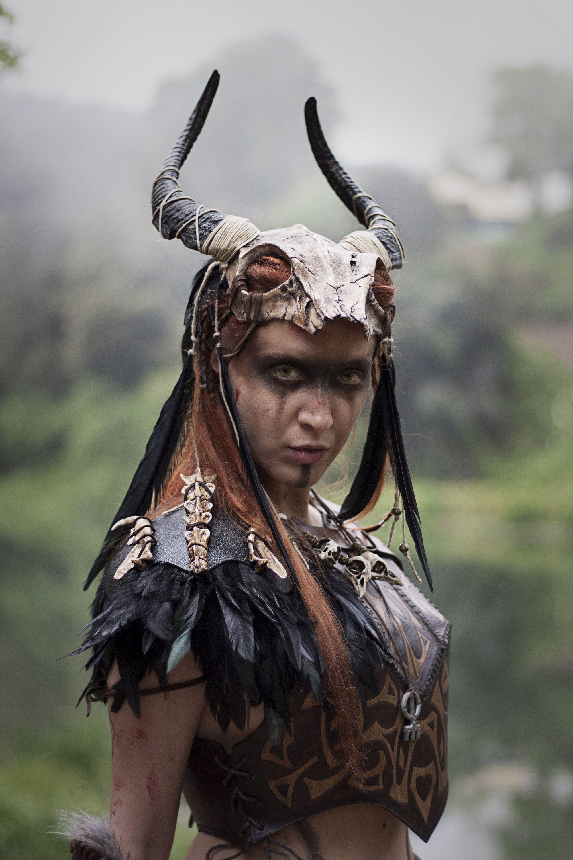 Tribal costume armor set, headdress shoulder and skulls necklace, post-apocalyptic shaman pauldron headpiece larp burningman viking witch