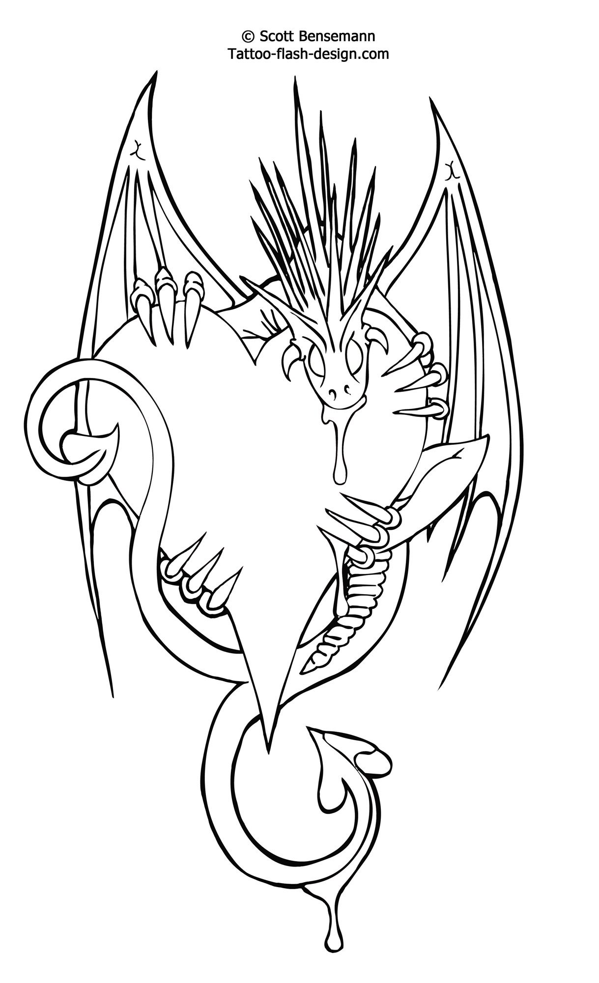 Free Tattoo Flash Love Heart Dragon Design Printable