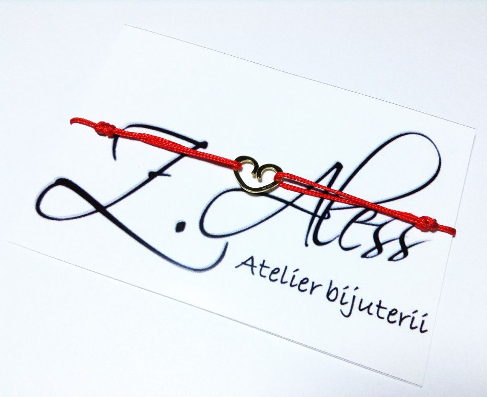 Red bracetel with gold plated silver 925 accessories by Z.Aless.