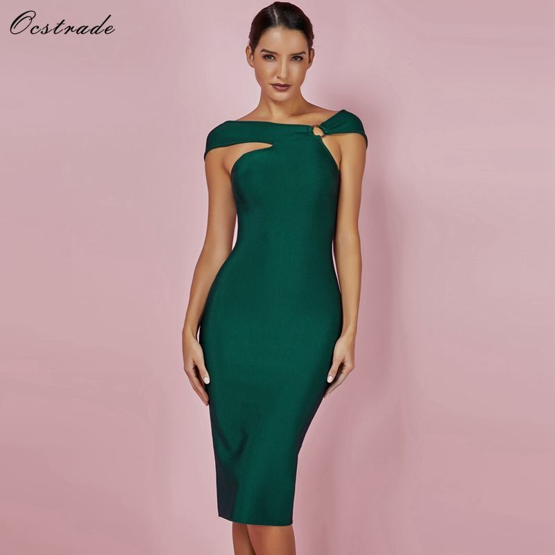 d2b7b5eba50 Ocstrade Bandage Party Dresses 2018 New Arrivals Green Bandage Bodycon  Rayon Dress Sexy Off Shoulde Knee Length Bandage Dress-in Dresses from  Women s ...