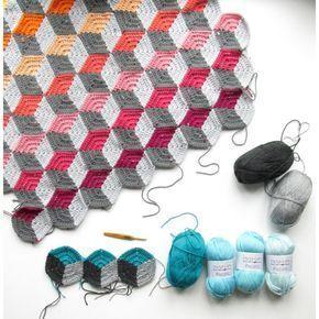 3D Geo Hexie Cus Crochet pattern by Steel&Stitch