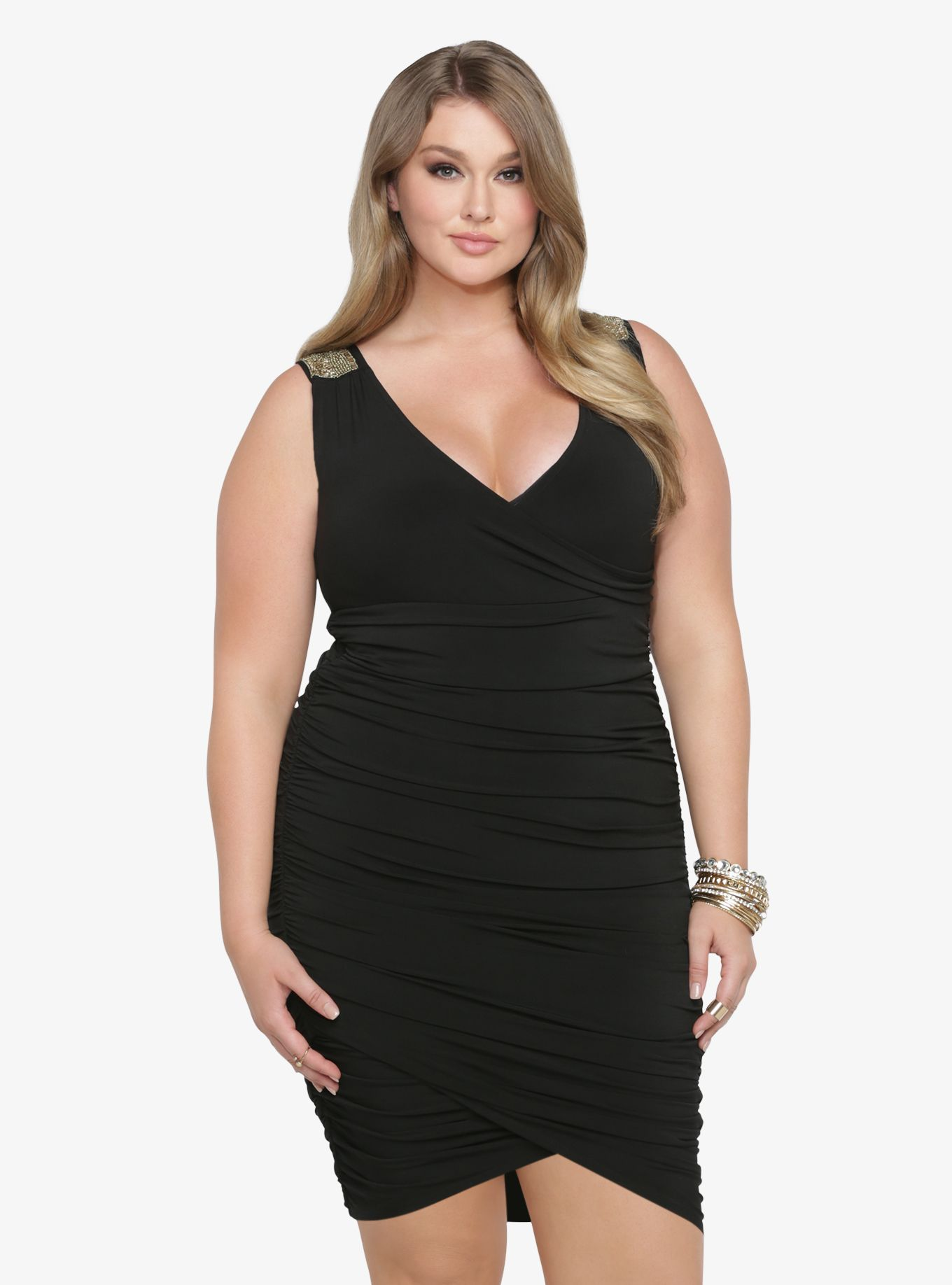 Beaded u ruched bodycon dress featured products from torrid